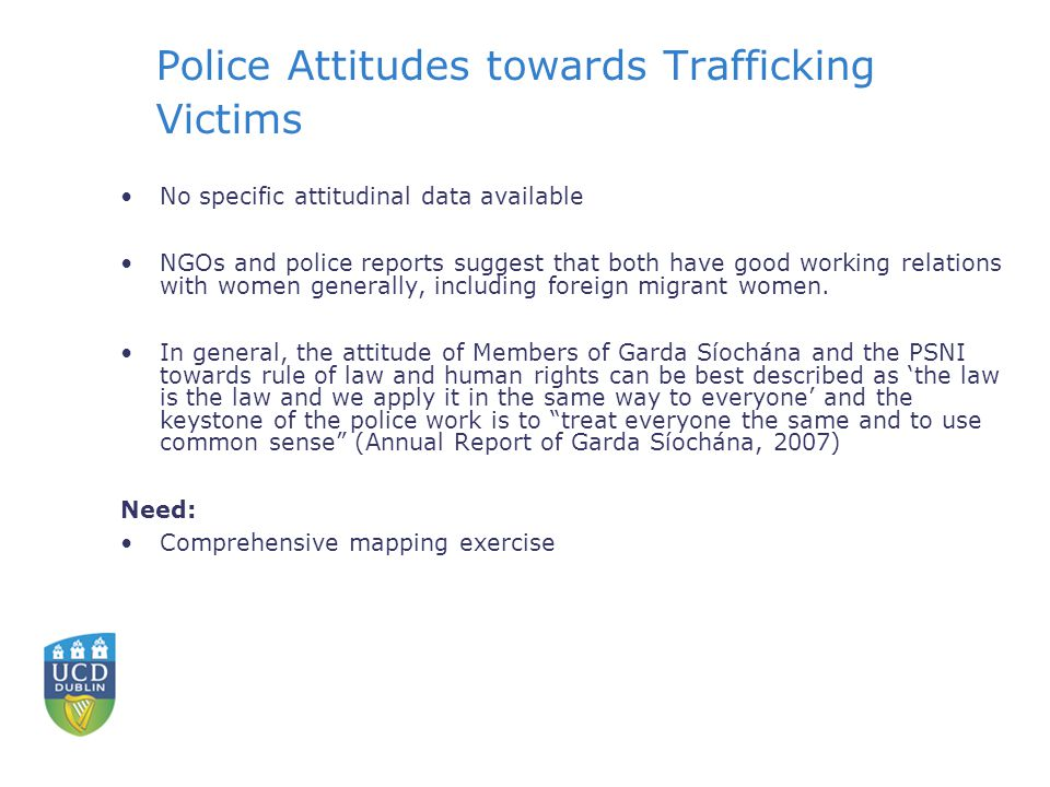 Police Attitudes towards Trafficking Victims