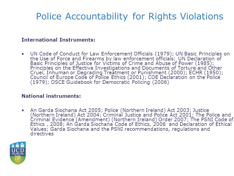 Police Accountability for Rights Violations