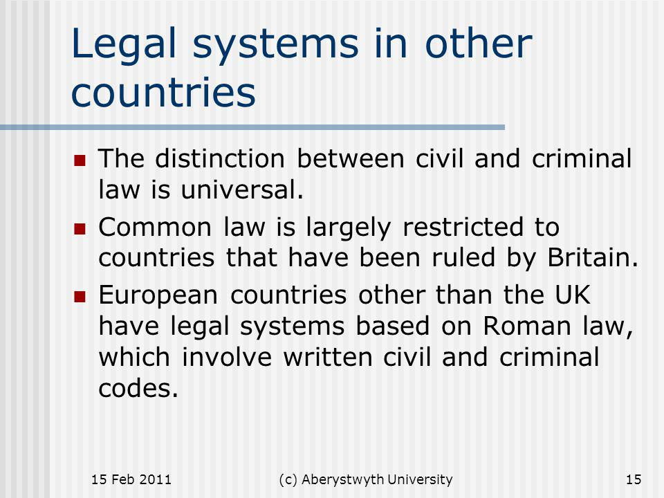 Legal systems in other countries