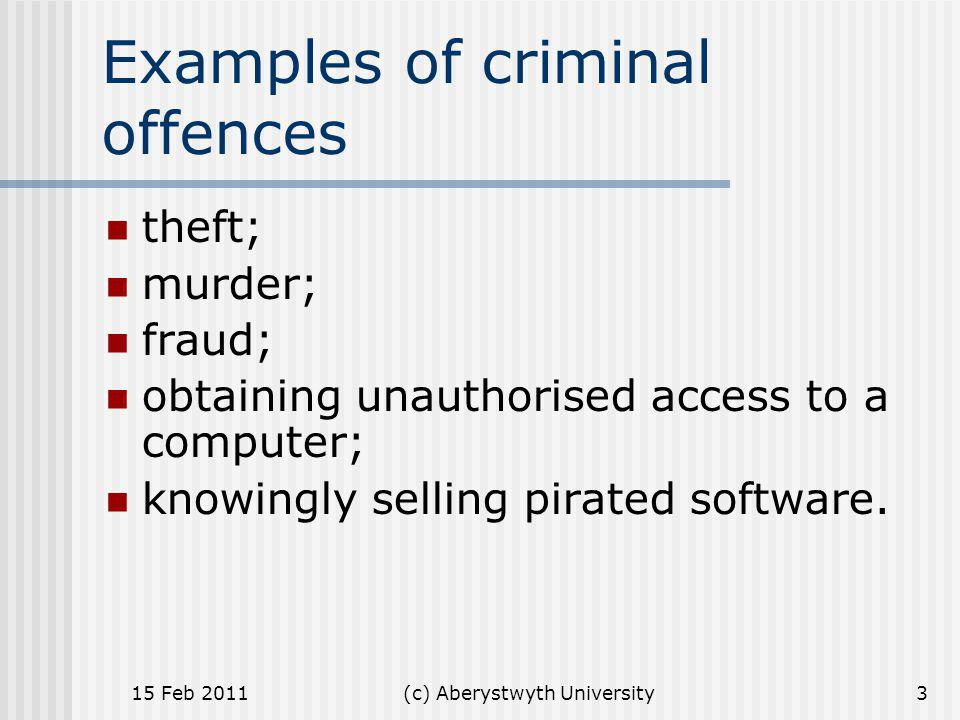 Examples of criminal offences