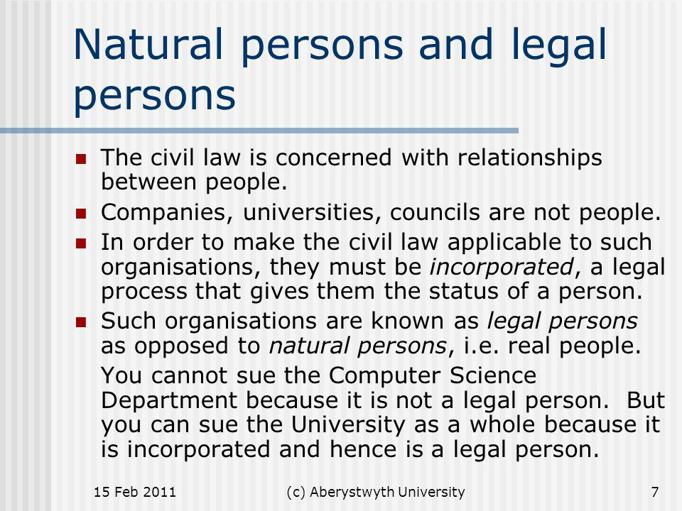 Natural persons and legal persons