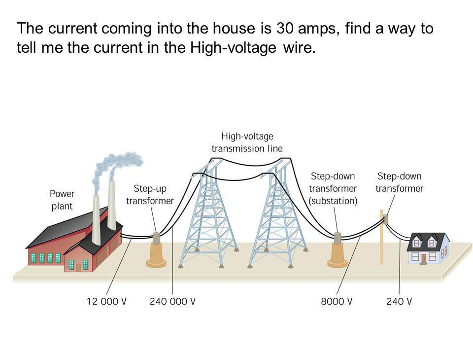 The current coming into the house is 30 amps, find a way to tell me the current in the High-voltage wire.