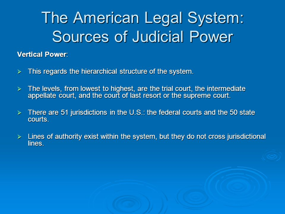The American Legal System: Sources of Judicial Power