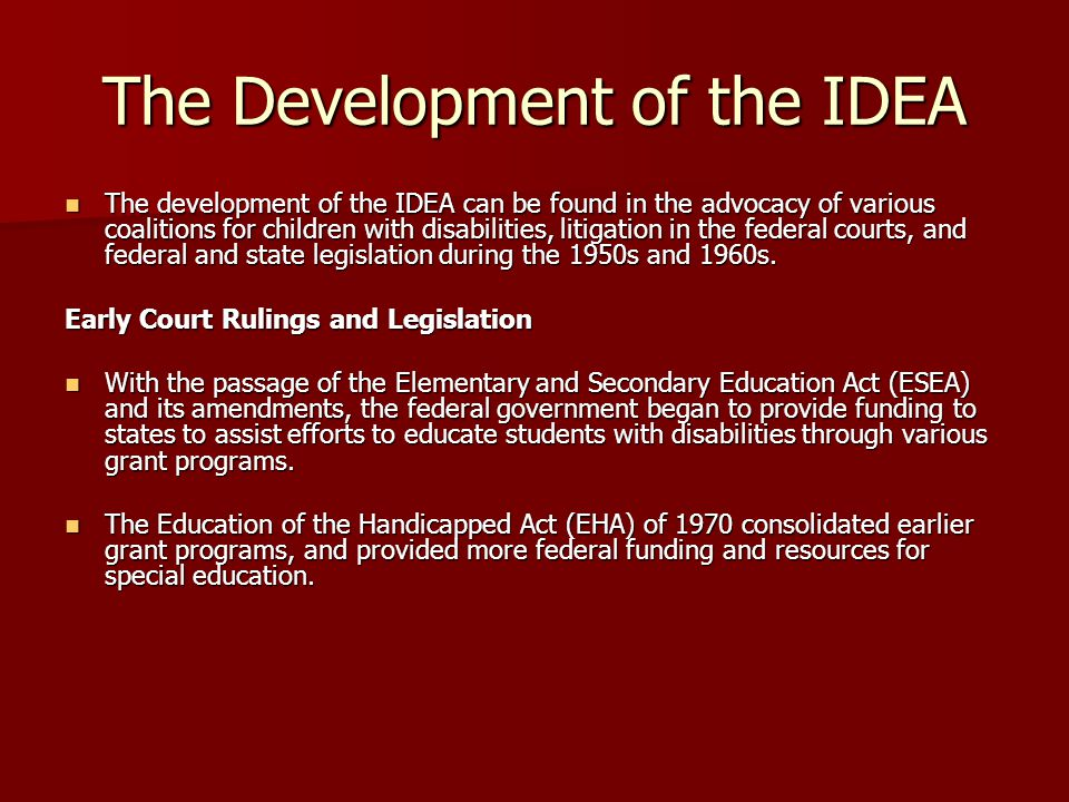The Development of the IDEA