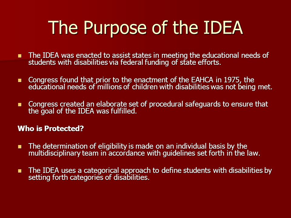 The Purpose of the IDEA