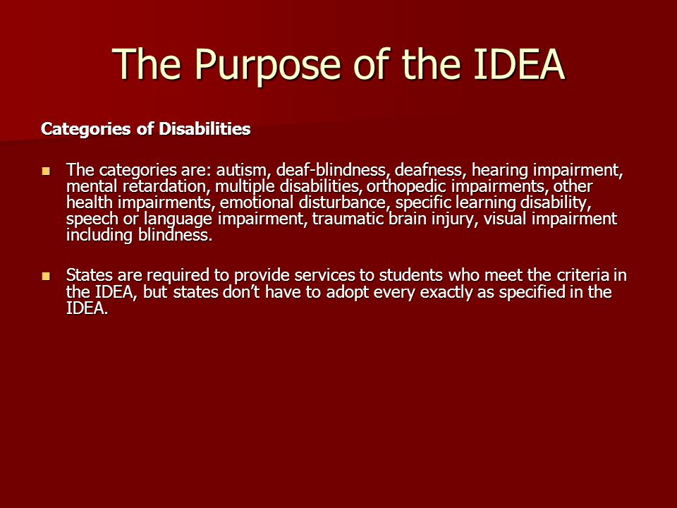The Purpose of the IDEA Categories of Disabilities