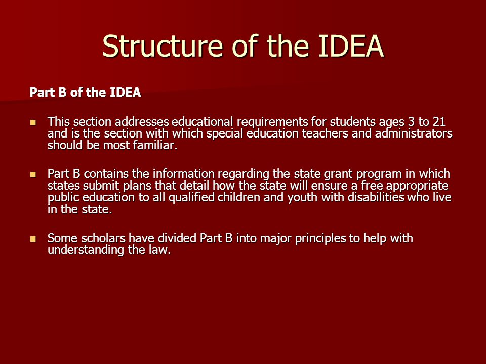 Structure of the IDEA Part B of the IDEA