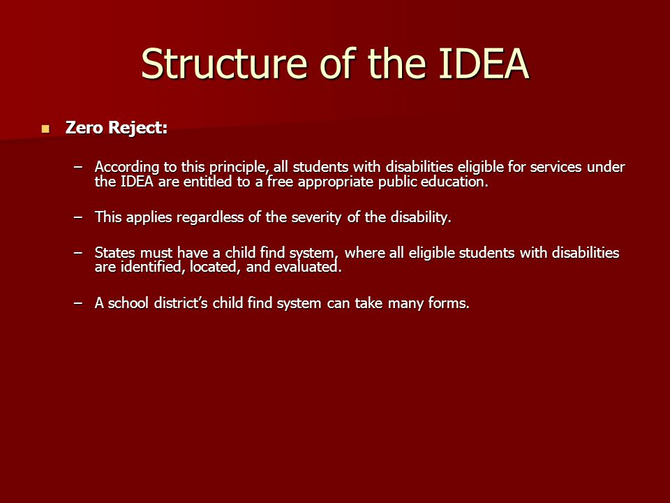 Structure of the IDEA Zero Reject: