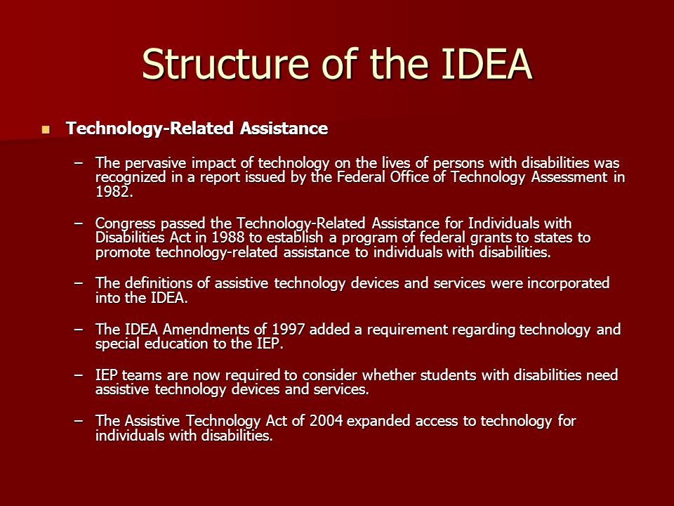 Structure of the IDEA Technology-Related Assistance