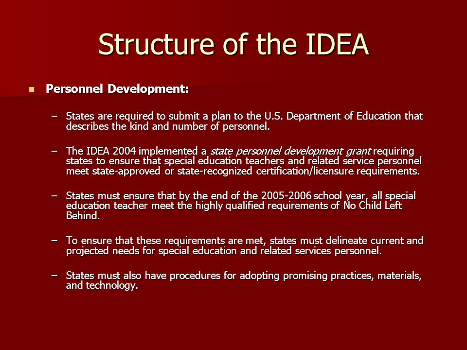 Structure of the IDEA Personnel Development: