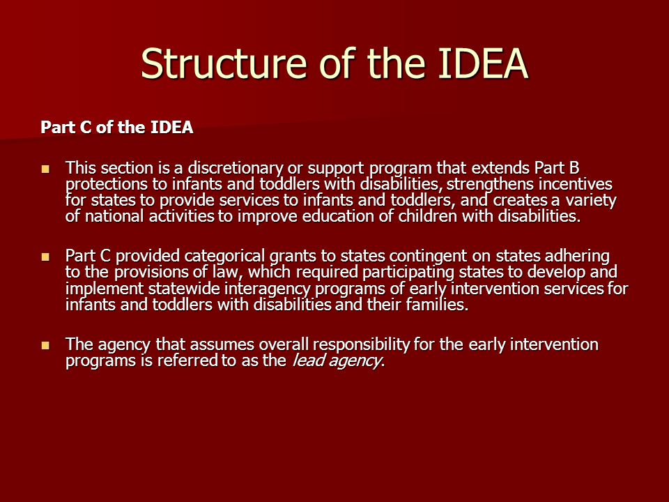 Structure of the IDEA Part C of the IDEA