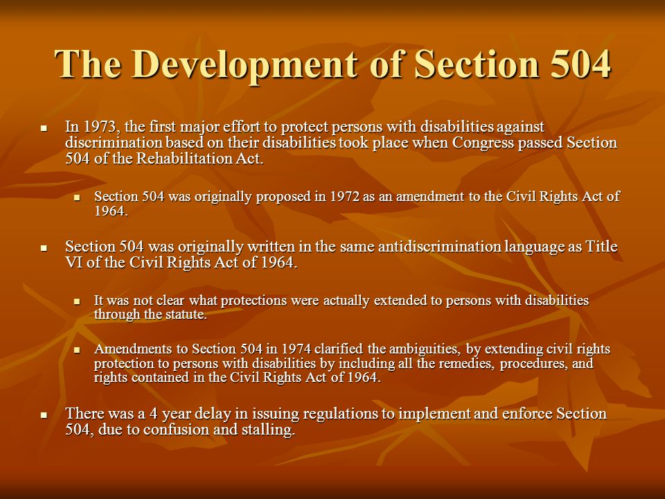 The Development of Section 504
