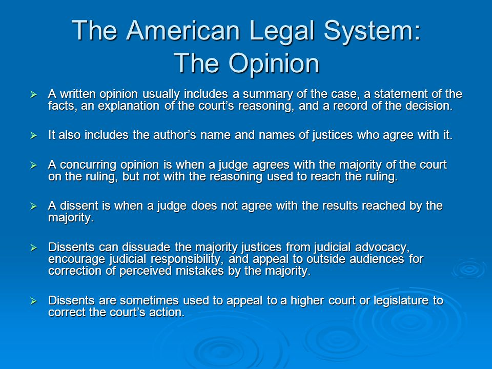 The American Legal System: The Opinion