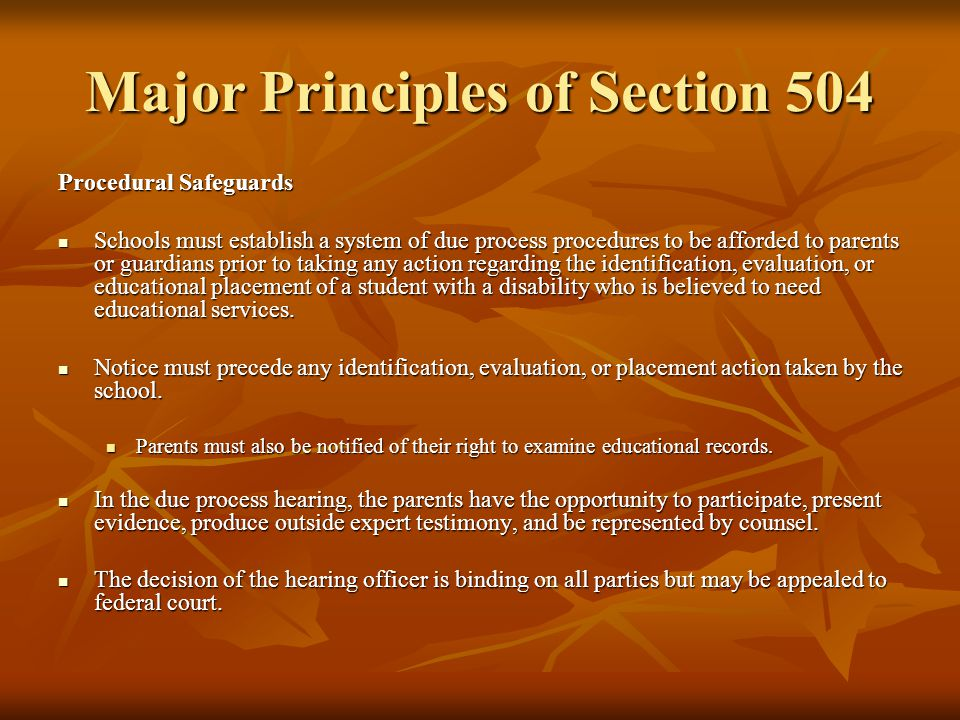 Major Principles of Section 504