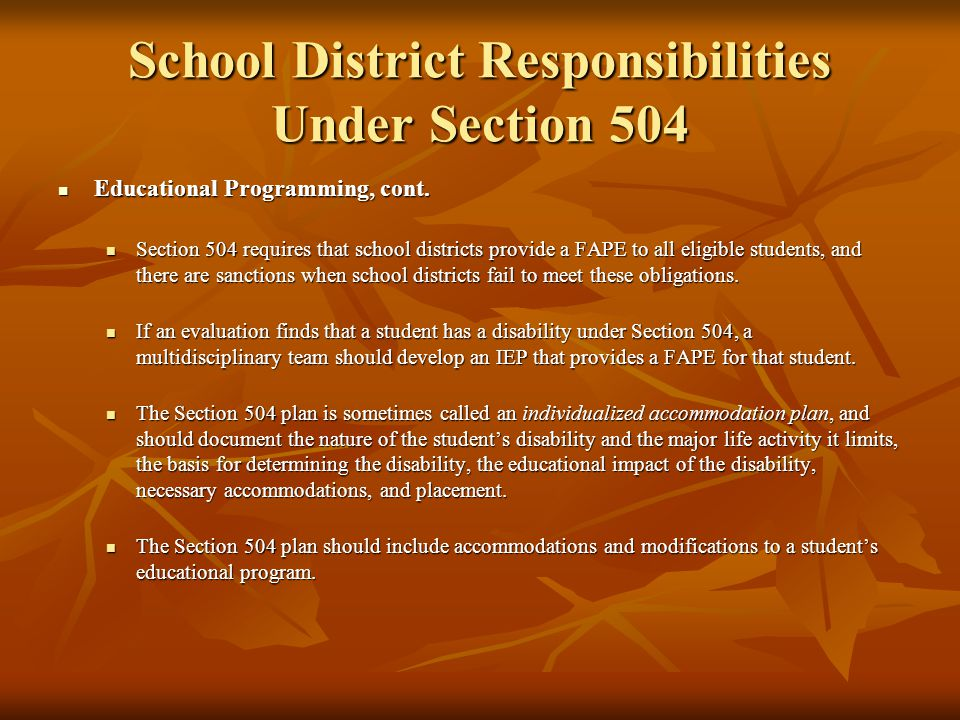 School District Responsibilities Under Section 504