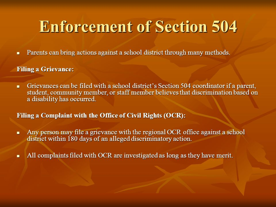 Enforcement of Section 504