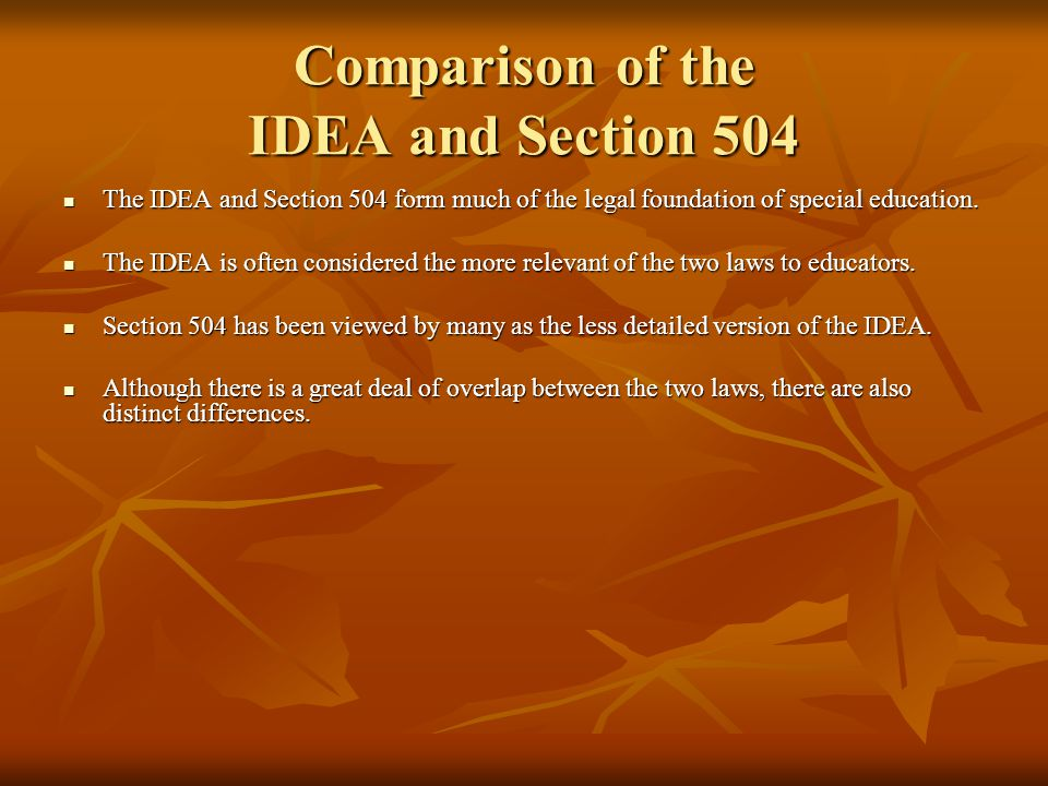 Comparison of the IDEA and Section 504