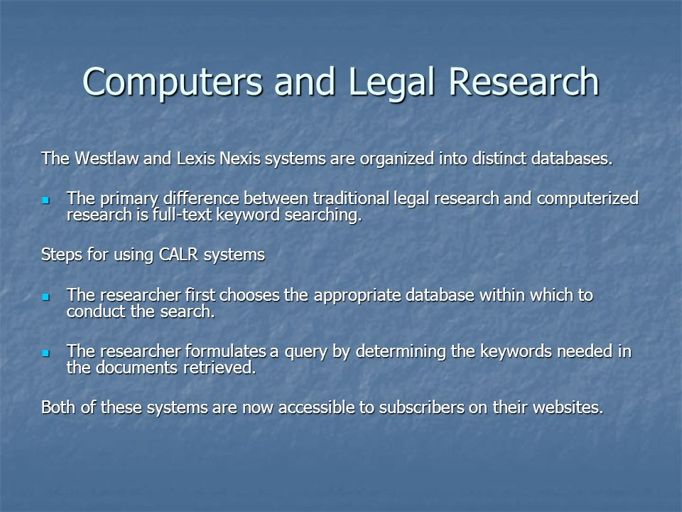 Computers and Legal Research