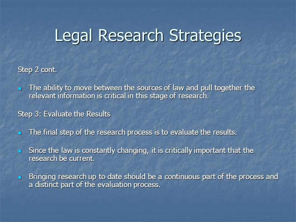 Legal Research Strategies