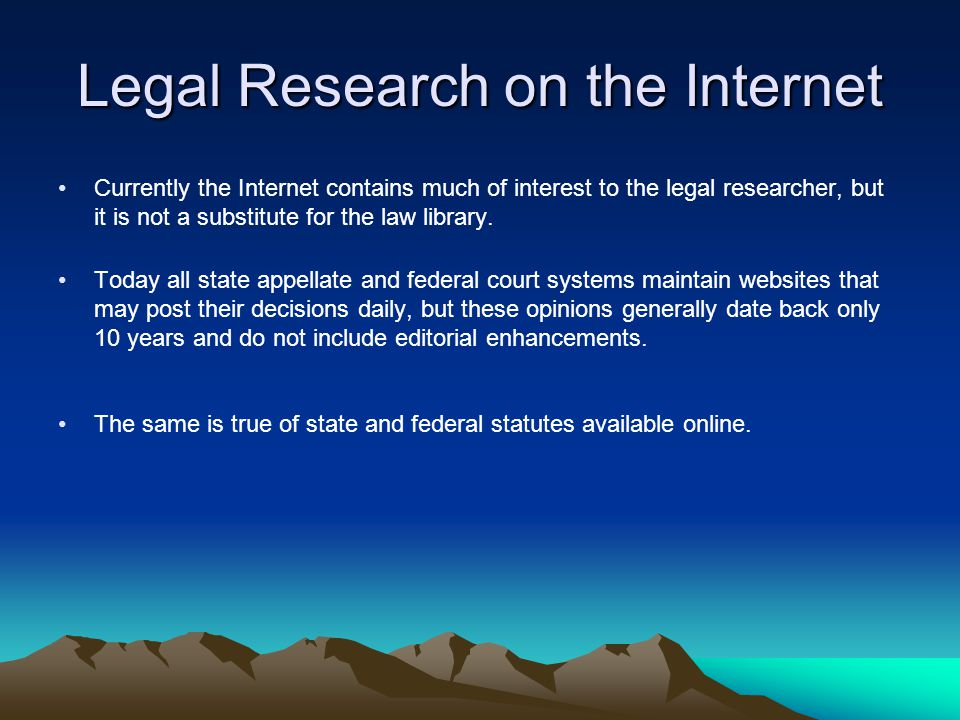 Legal Research on the Internet