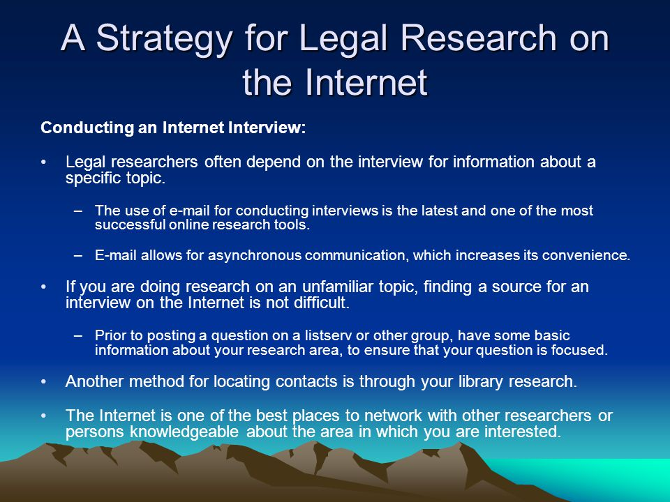 A Strategy for Legal Research on the Internet