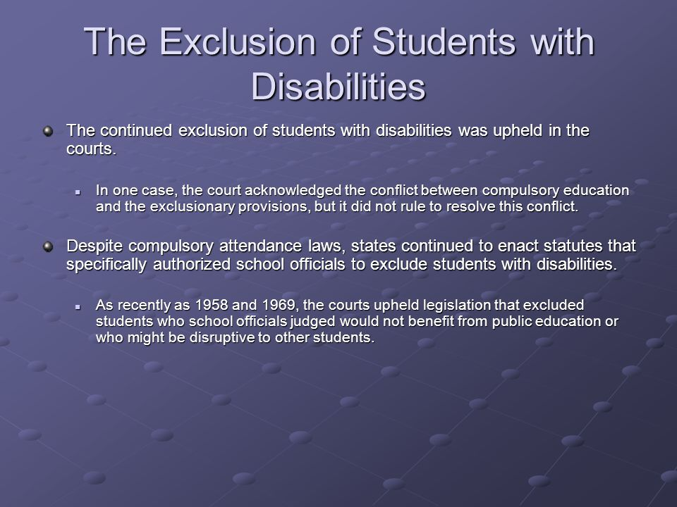 The Exclusion of Students with Disabilities