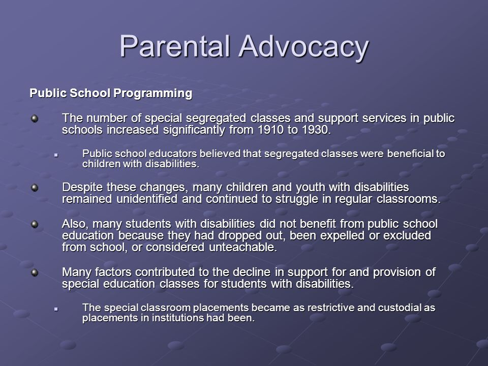 Parental Advocacy Public School Programming