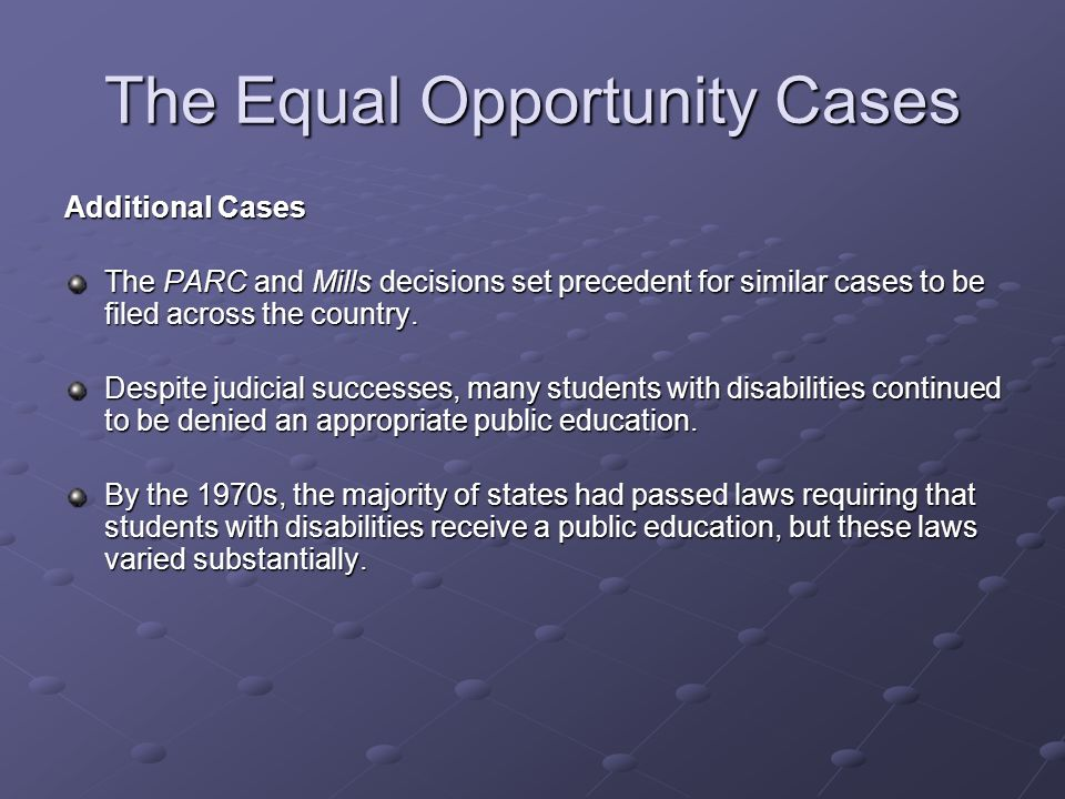 The Equal Opportunity Cases