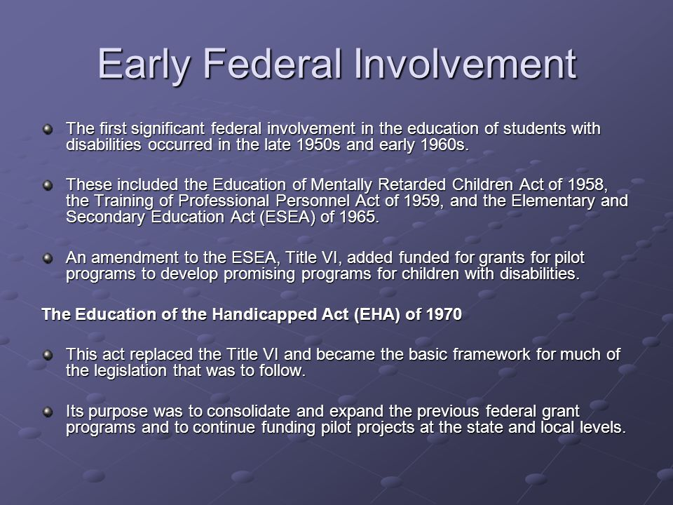 Early Federal Involvement