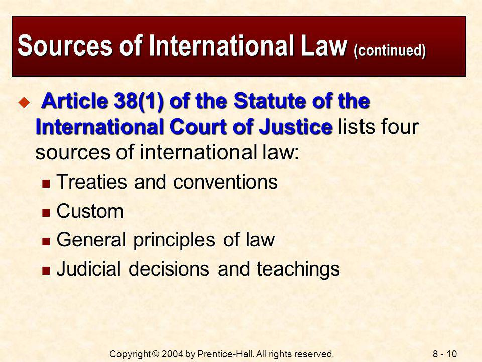 Sources of International Law (continued)