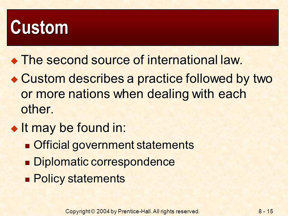Custom The second source of international law.