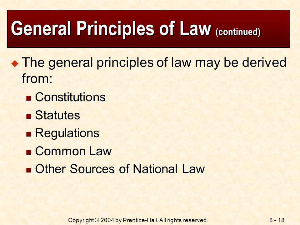 General Principles of Law (continued)