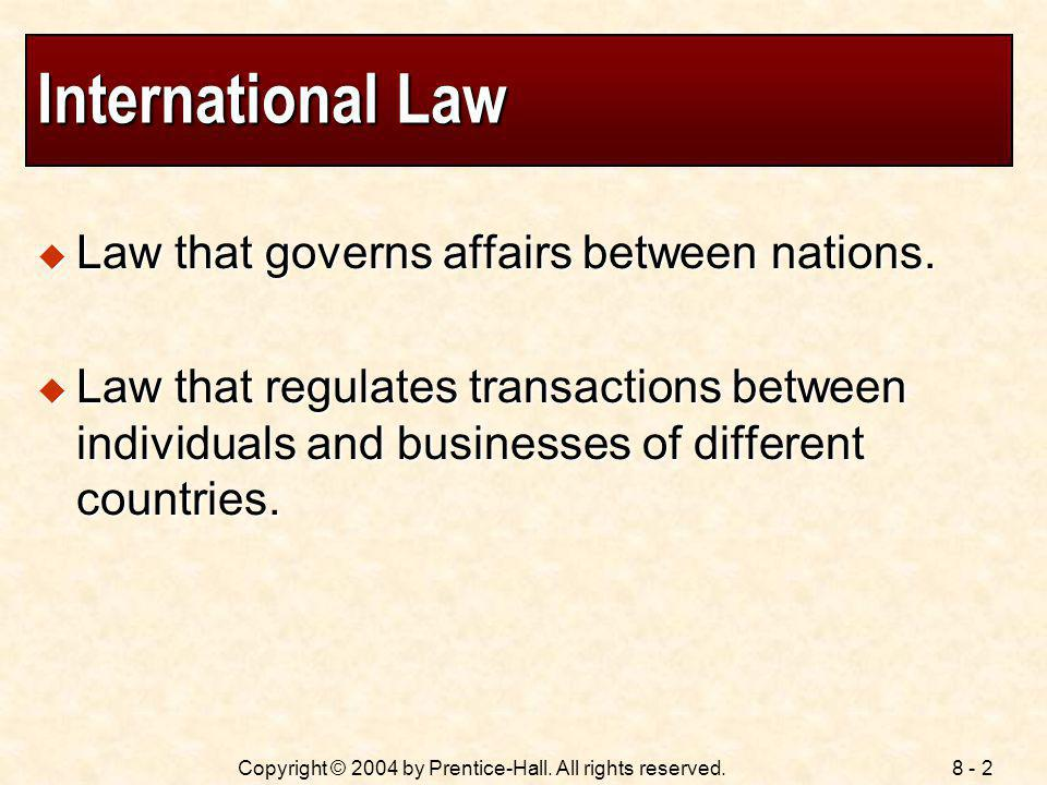 International Law Law that governs affairs between nations.