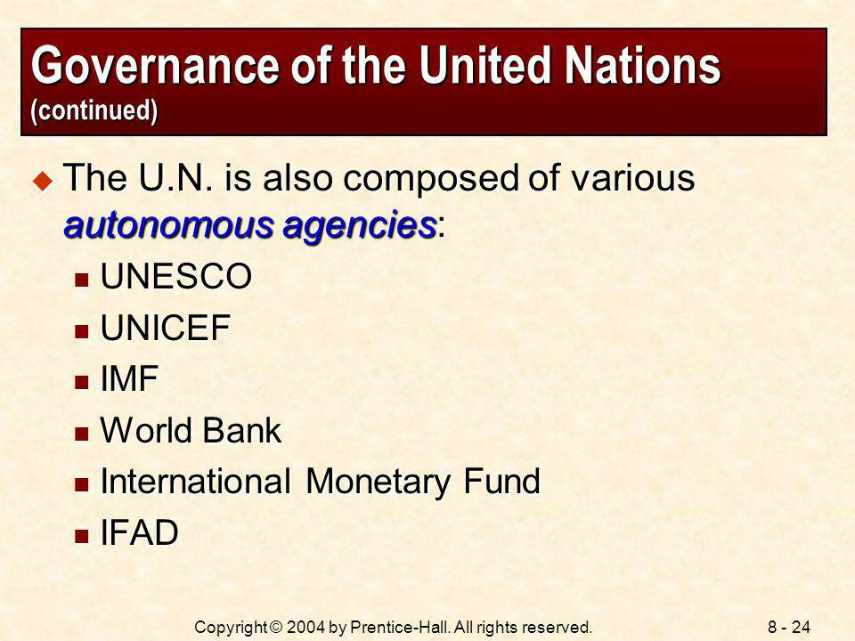 Governance of the United Nations (continued)