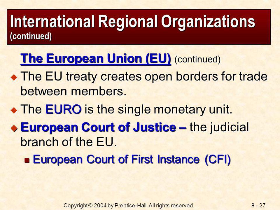 International Regional Organizations (continued)