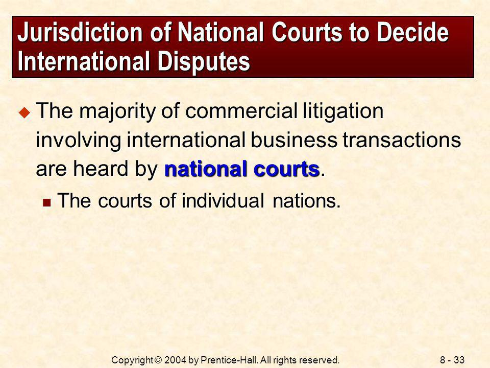 Jurisdiction of National Courts to Decide International Disputes