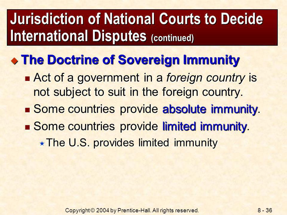 Jurisdiction of National Courts to Decide International Disputes (continued)