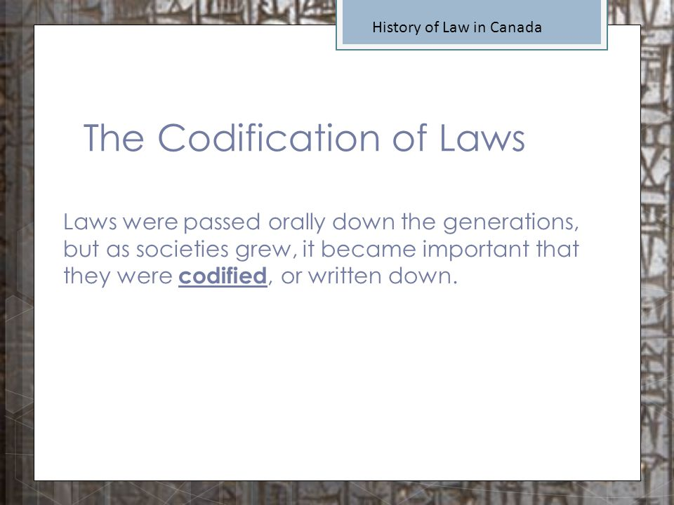 The Codification of Laws