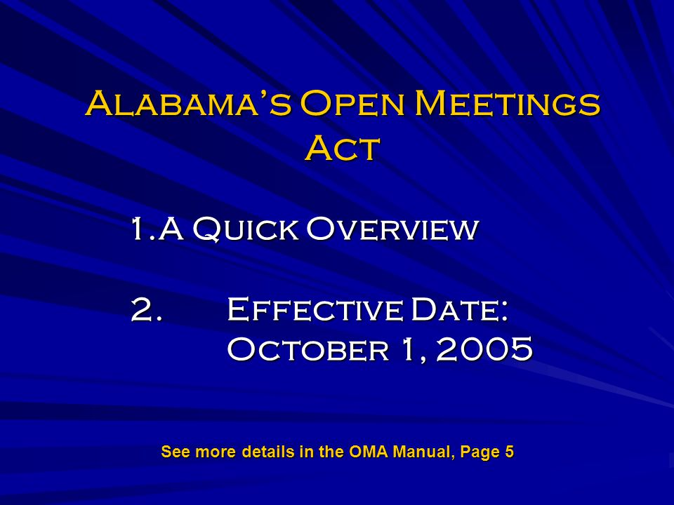 Alabama's Open Meetings Act