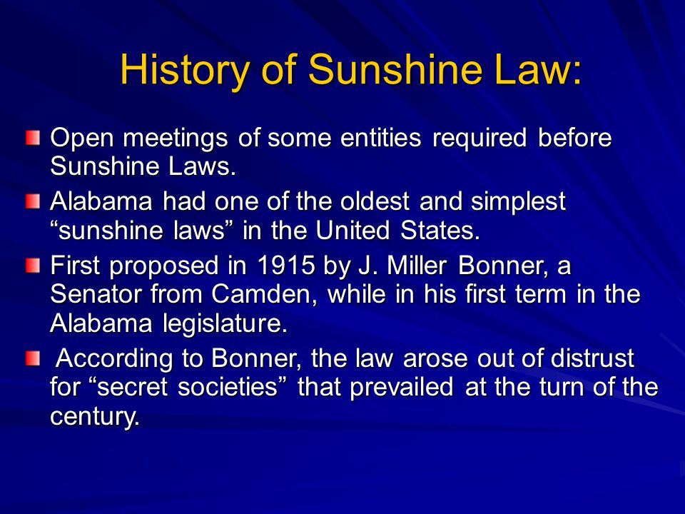 History of Sunshine Law: