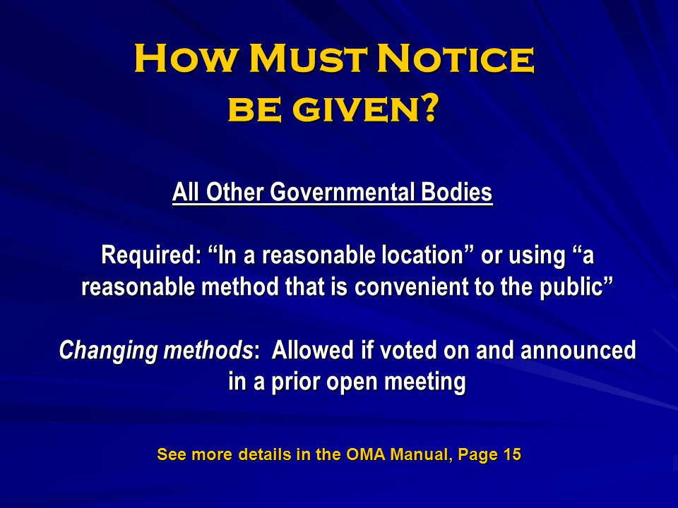 How Must Notice be given
