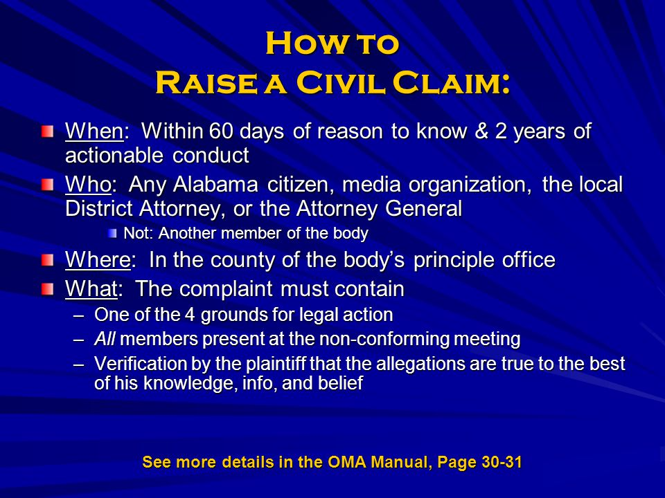 How to Raise a Civil Claim: