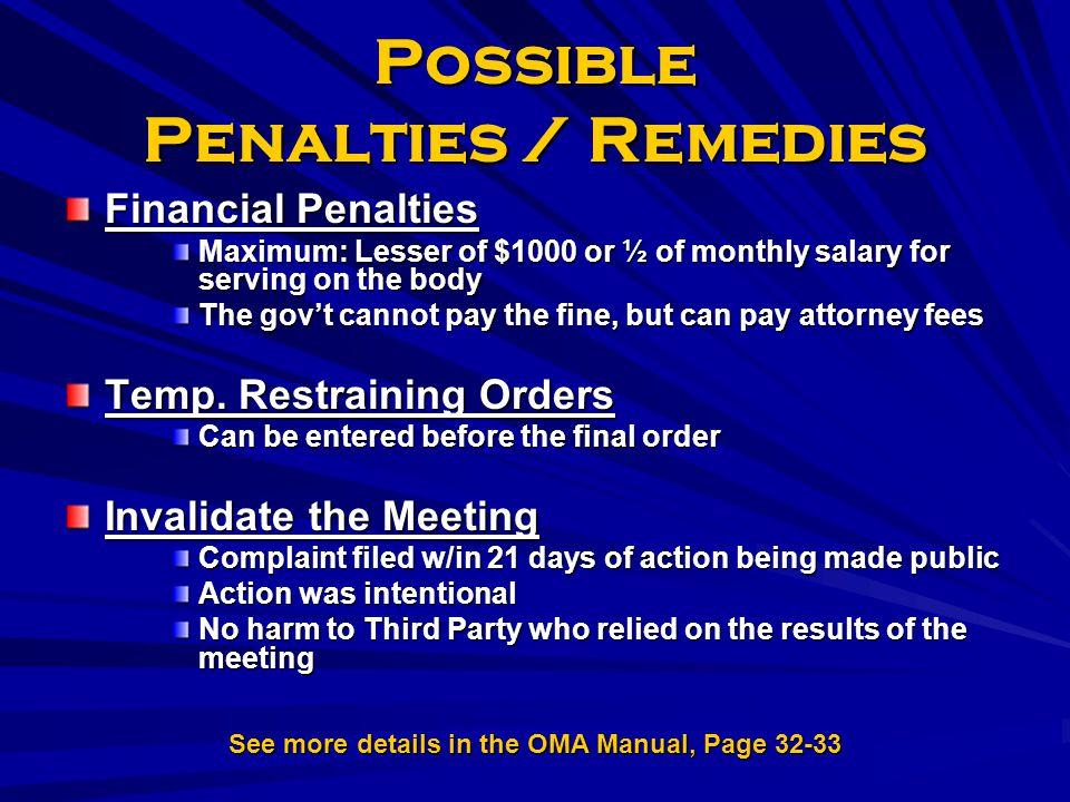 Possible Penalties / Remedies