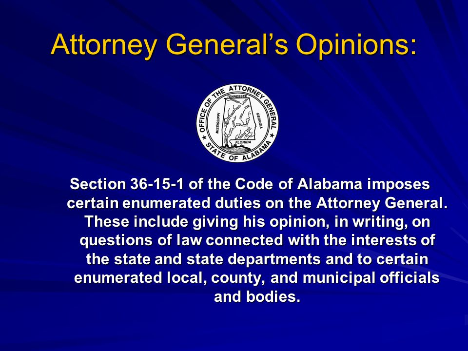 Attorney General's Opinions: