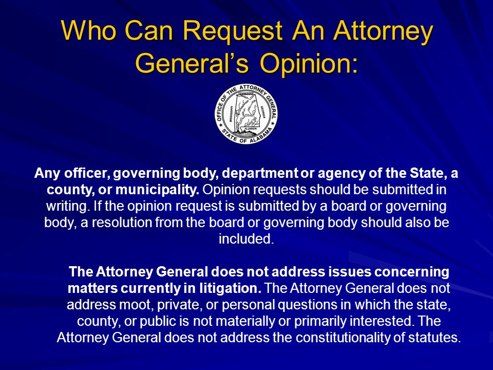 Who Can Request An Attorney General's Opinion: