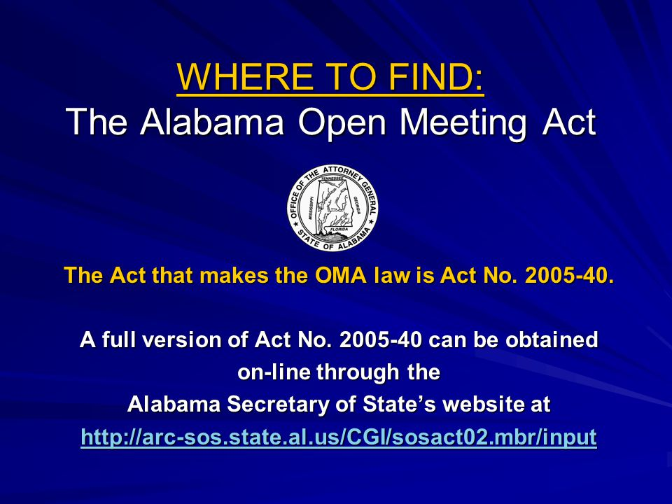 WHERE TO FIND: The Alabama Open Meeting Act
