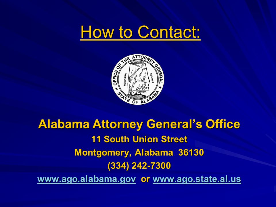 How to Contact: Alabama Attorney General's Office