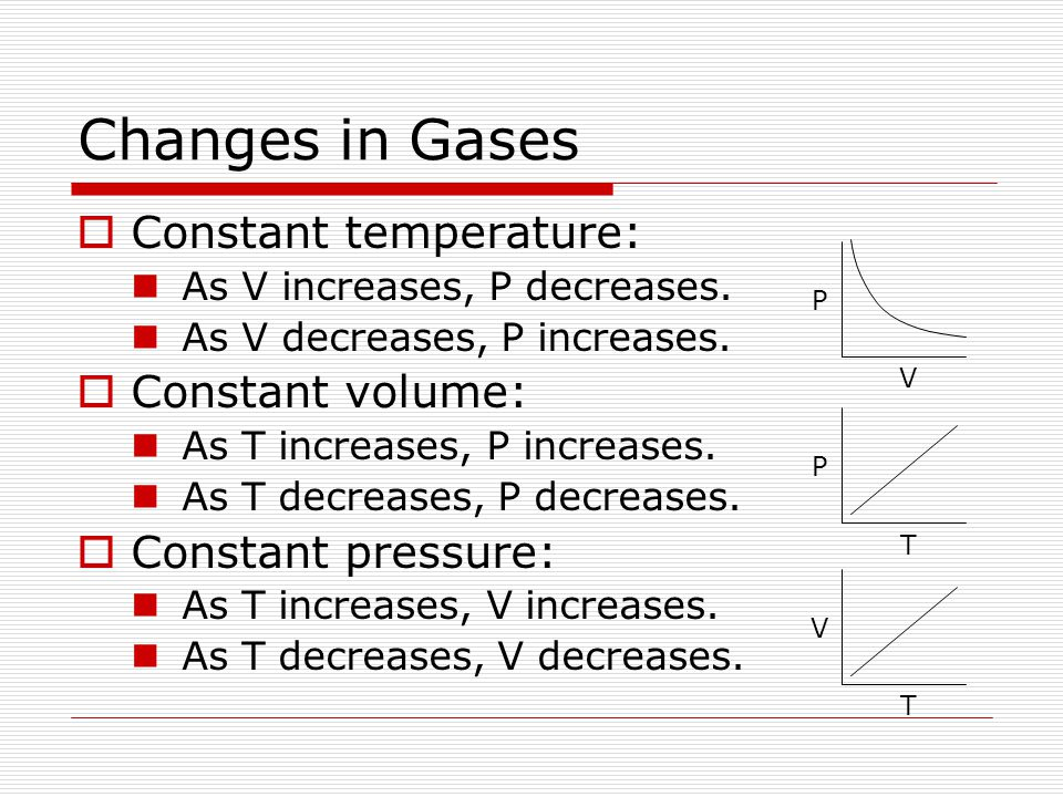Changes in Gases Constant temperature: Constant volume: