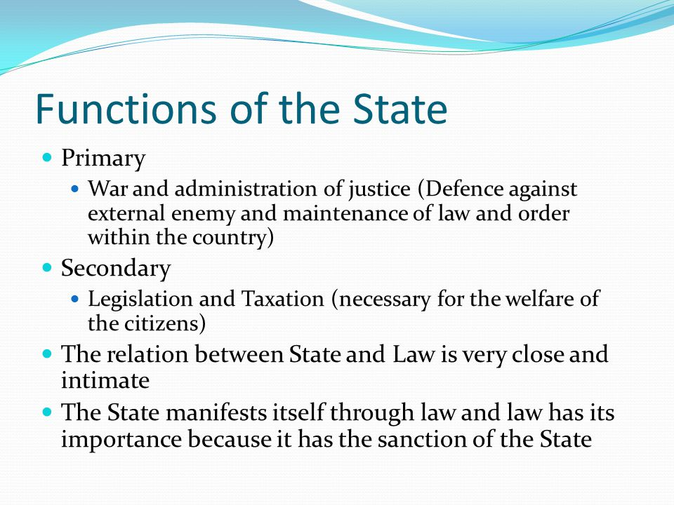 Functions of the State Primary Secondary