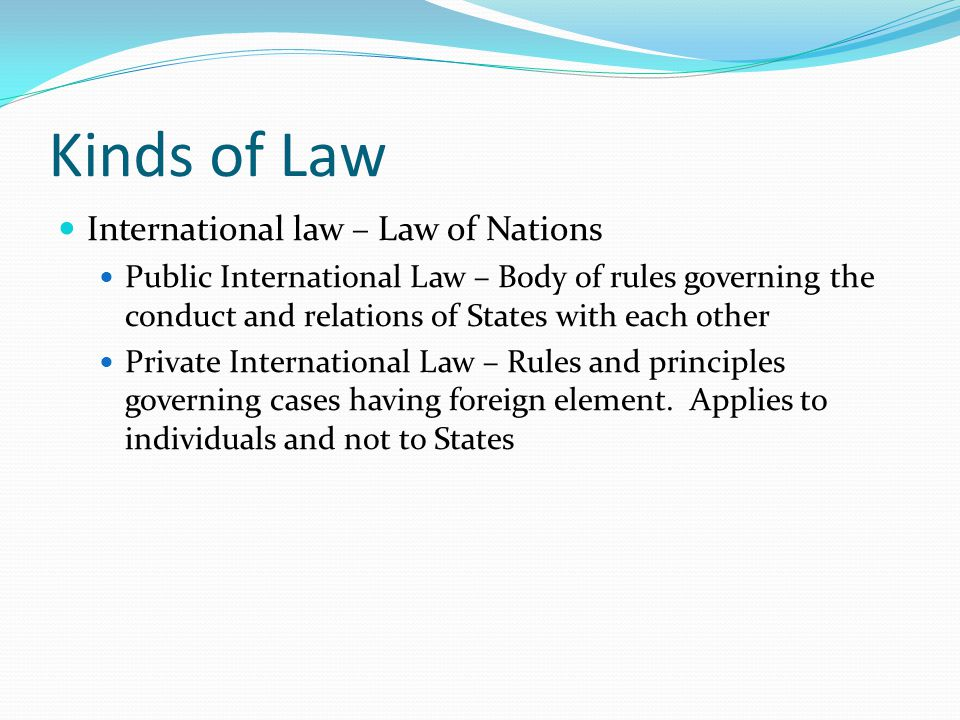 Kinds of Law International law – Law of Nations